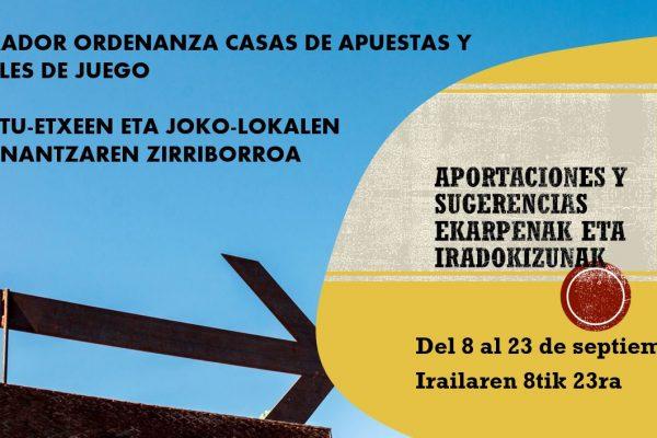 BORRADOR ORDENANZA CASAS DE APUESTAS Y LOCALES DE JUEGO – APUSTU-ETXEEN ETA JOKO LOKALEN ORDENANTZAREN ZIRRIBORROA