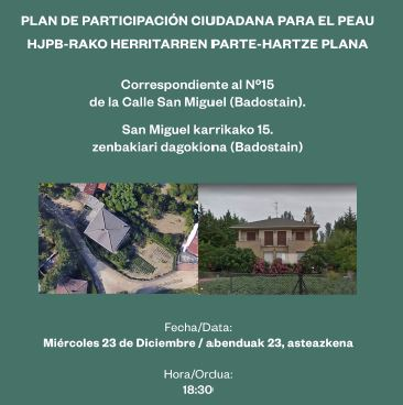 PEAU BADOSTAIN – PROCESO PARTICIPATIVO / PARTE HARTZEKO PROZESUA